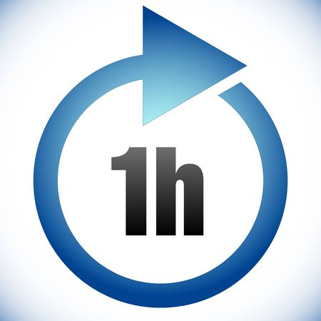 1h Turnaround time (TAT) icon. Interval for processing, return to customer. Duration, latency for completion, request fulfilling