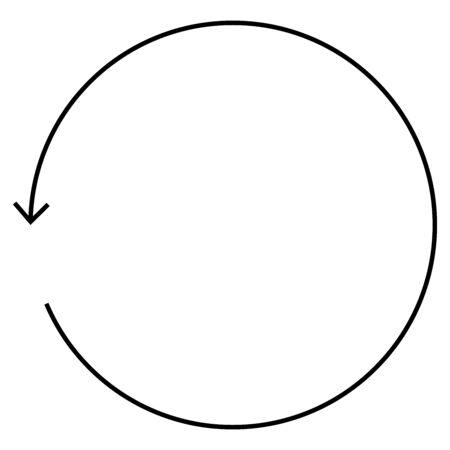 Circular, circle arrow left. Radial arrow icon, symbol. Counterclockwise rotate, twirl, twist concept element. Spin, vortex pointer. Whirlpool, loop cursor shape Reklamní fotografie - 131156044