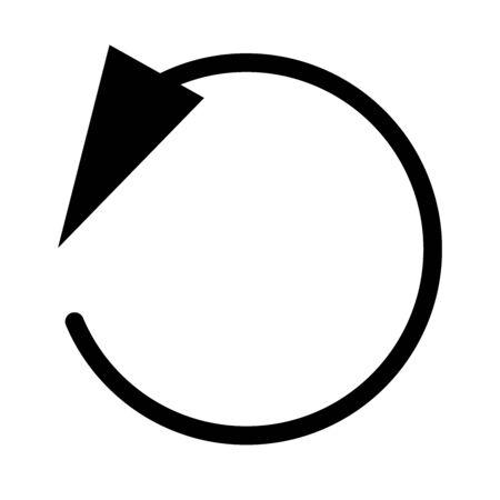 Circular, circle arrow left. Radial arrow icon, symbol. Counterclockwise rotate, twirl, twist concept element. Spin, vortex pointer. Whirlpool, loop cursor shape Ilustrace
