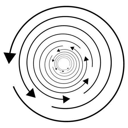 Circular, circle arrow left. Radial arrow icon, symbol. Counterclockwise rotate, twirl, twist concept element. Spin, vortex pointer. Whirlpool, loop cursor shape