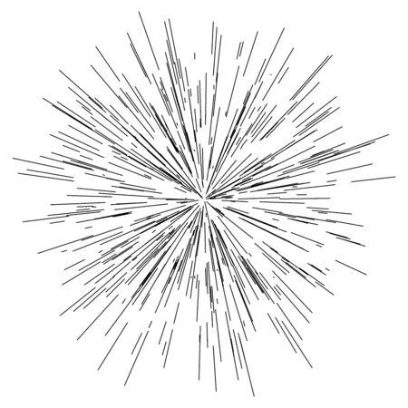 éclatement des lignes radiales / rayonnantes, explosion, effet de souffle Vecteurs