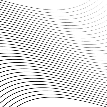 Geometric waving, wavy parallel lines. Ripple, twisted lines pattern. Squeeze, sway, squish distort, deform effect on stripes, lines. Undulate, arc, billow lines background. Crinkled, bent, frizzy lines, stripes. abstract background, pattern