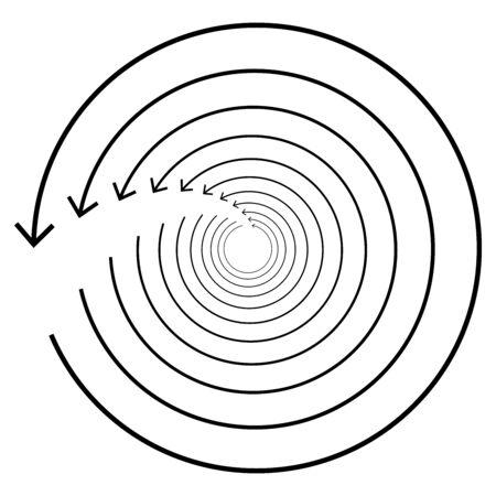 Circular, circle arrow left. Radial arrow icon, symbol. Counterclockwise rotate, twirl, twist concept element. Spin, vortex pointer. Whirlpool, loop cursor shape Çizim