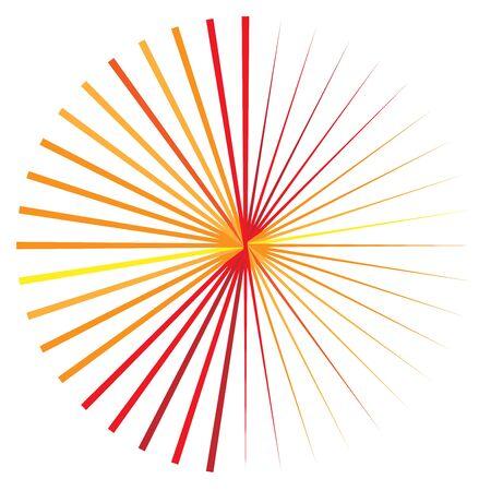 Orange, yellow radial, radiating lines. Rays, beams. Starburst, sunburst element. Sparkle, gleam, twinkle effect. Circular, concentric design Illustration