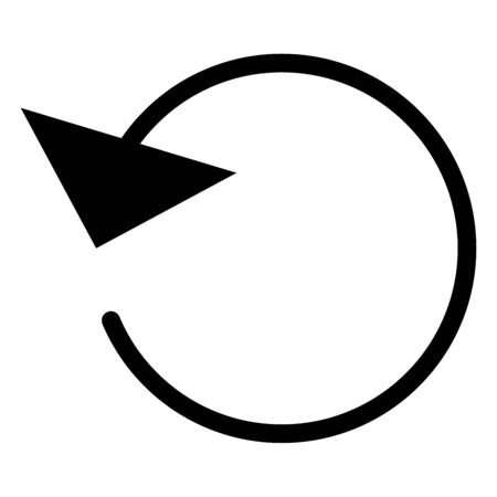 Circular, circle arrow left. Radial arrow icon, symbol. Counterclockwise rotate, twirl, twist concept element. Spin, vortex pointer. Whirlpool, loop cursor shape Ilustrace