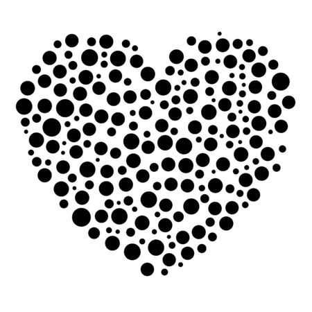 Unique heart element. Heart made of circles. Clip-art for love, affection, marriage heart health concepts Illustration