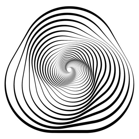 Shape with rotation, tiwrl effect Geometric abstract spiralling design element