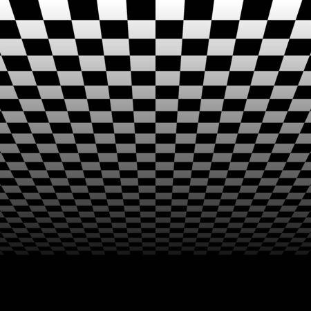 Chessboard, checkerboard surface vanishing into horizon. 3d plane scene, virtual interior room