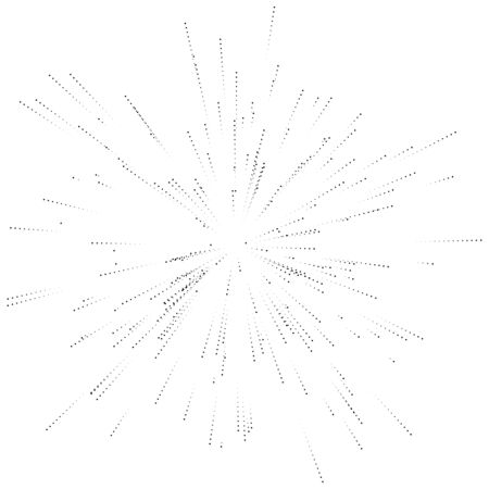 Halftone dotted, speckle radial lines. Spreading dots beams, rays