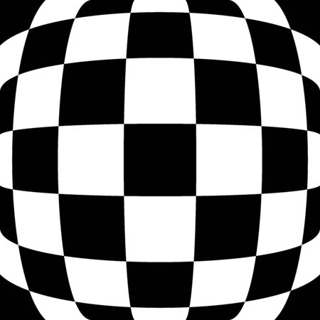 3d bulging, convex, globular, protuberant distortion, deformation on checkered, black and white squares pattern, background. Spherical, relief, emboss warp effect on checkerboard pattern