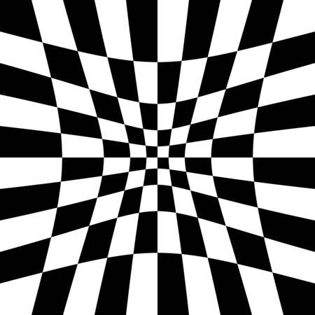 Indentation, hollow, depression, deepening distortion, deformation effect on checkboard, chekered, squares, pepita pattern, background