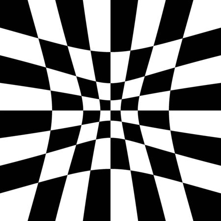 Indentation, hollow, depression, deepening distortion, deformation effect on checkboard, chekered, squares, pepita pattern, background Ilustración de vector