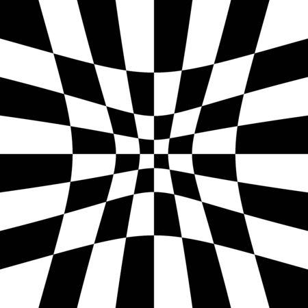Vertiefung, Hohl, Vertiefung, Vertiefung der Verzerrung, Verformungseffekt auf Schachbrett, Schachbrettmuster, Quadrate, Pepita-Muster, Hintergrund Vektorgrafik