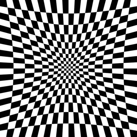 Indentation, hollow, depression, deepening distortion, deformation effect on checkboard, chekered, squares, pepita pattern, background Vector Illustration