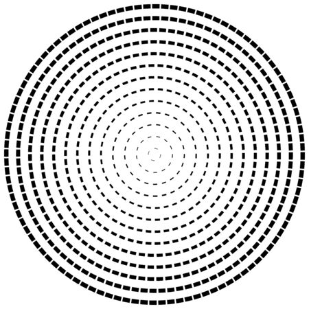 Radial dashed line circles. Circular, concentric element with gap lines. Periodic, infrequent line circles. Orbitting piece, bit particles. Ripple, emission, vortex, cycle, radiation concept element.   イラスト・ベクター素材