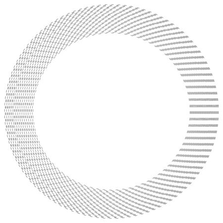 Radial dashed line circles. Circular, concentric element with gap lines. Periodic, infrequent line circles. Orbitting piece, bit particles. Ripple, emission, vortex, cycle, radiation concept element. Irregular lines circular geometric design element
