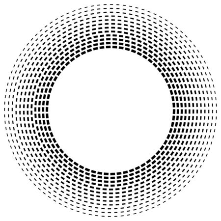 Radial dashed line circles. Circular, concentric element with gap lines. Periodic, infrequent line circles. Orbitting piece, bit particles. Ripple, emission, vortex, cycle, radiation concept element. Irregular lines circular geometric design element Reklamní fotografie - 131156661