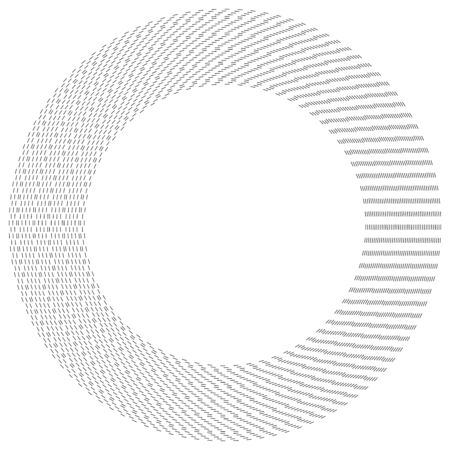 Radial dashed line circles. Circular, concentric element with gap lines. Periodic, infrequent line circles. Orbitting piece, bit particles. Ripple, emission, vortex, cycle, radiation concept element. Irregular lines circular geometric design element Illustration