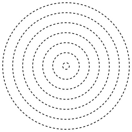 Radial dashed line circles. Circular, concentric element with gap lines. Periodic, infrequent line circles. Orbitting piece, bit particles. Ripple, emission, vortex, cycle, radiation concept element. Irregular lines circular geometric design element Illusztráció