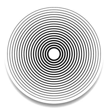 Radial circles design element. Converge circle lines. Repeating, expand circles from center, epicenter. Emission, circulate, loop concepts design element. Inward, converging, merge circles. Simple geometric circular, radiating lines element. Helix, shockwave lines. Loop, cycle of circle outlines
