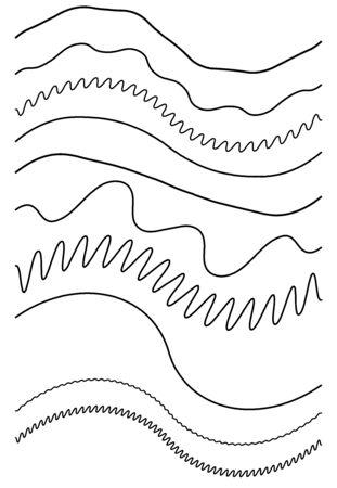Wavy, billow (zigzag) line element set. Lines with waving effect Illustration