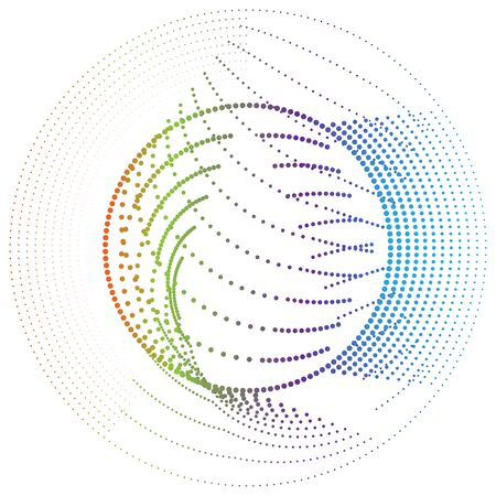 Radial element with random dots, circles, rings as particles. Diffusion, dissolve effect. Clutter vortex, swirl radiating shape. Spiral noise, moire design element. Converge scatter, disperse concentric rings of jumble dots. Many irregular flicker bits, pieces in orbit. Abstract geometric circle, circular molecule illustration
