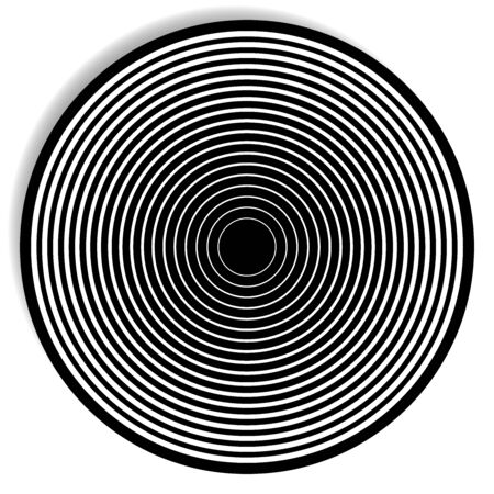 Concentric, radial circle pattern. Radiating spiral. Vortex lines. Rays, beams burst design element. Simple round geometric shape. Merging vortex, ripple lines. Converging rings geometric illustration Illustration