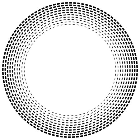 Radial dashed line circles. Circular, concentric element with gap lines. Periodic, infrequent line circles. Orbitting piece, bit particles. Ripple, emission, vortex, cycle, radiation concept element. Irregular lines circular geometric design element Ilustração