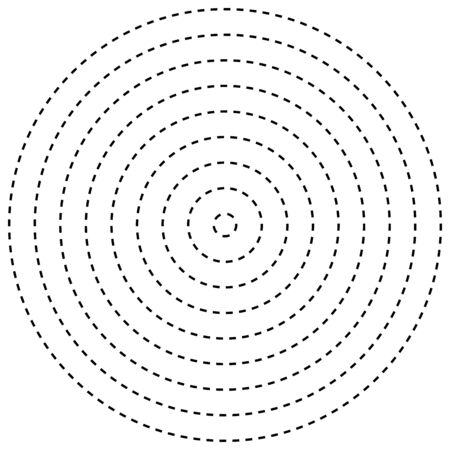Radial dashed line circles. Circular, concentric element with gap lines. Periodic, infrequent line circles. Orbitting piece, bit particles. Ripple, emission, vortex, cycle, radiation concept element. Irregular lines circular geometric design element Ilustrace