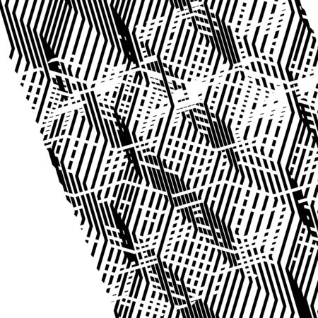 Glitch, noise abstract art. Overlapping random billowy, zig-zag lines. Wavy, waving intersecting lines. Distortion, deformation, displacement effect on dynamic stripes, lines. Distressed, chaotic abstract lines texture, abstract lines pattern, abstract lines art Illustration