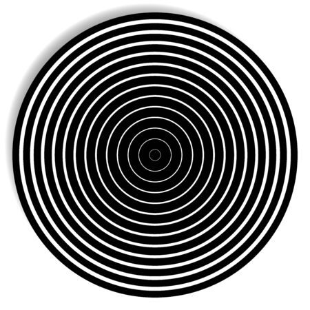 Concentric, radial circle pattern. Radiating spiral. Vortex lines. Rays, beams burst design element. Simple round geometric shape. Merging vortex, ripple lines. Converging rings geometric illustration Ilustração