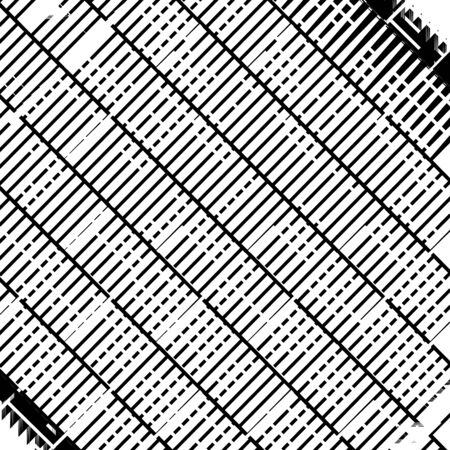 Glitch, noise abstract art. Overlapping random billowy, zig-zag lines. Wavy, waving intersecting lines. Distortion, deformation, displacement effect on dynamic stripes, lines. Distressed, chaotic abst