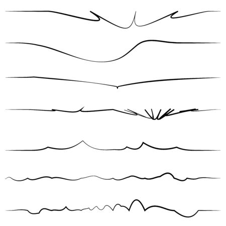 Wavy, billow (zigzag) line element set. Lines with waving effect Illustration