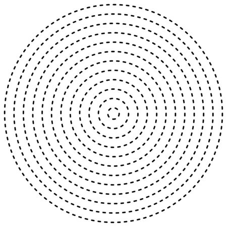 Dashed lines concentric, radial circles. Periodic, segmented lines with gaps. Bits, pieces, particles orbitting. Irregular line circles radiating from center. Flick, flicker, periodic line circles geometric element. Converging dash line circular element Illustration