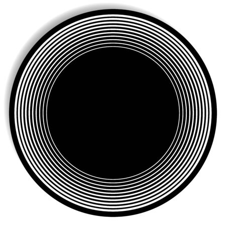 Concentric, radial circle pattern. Radiating spiral. Vortex lines. Rays, beams burst design element. Simple round geometric shape. Merging vortex, ripple lines. Converging rings geometric illustration Illusztráció
