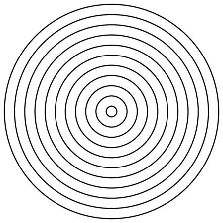 Radial circles design element. Converge circle lines. Repeating, expand circles from center, epicenter. Emission, circulate, loop concepts design element. Inward, converging, merge circles. Simple geometric circular, radiating lines element. Helix, shockwave lines. Loop, cycle of circle outlines Illusztráció