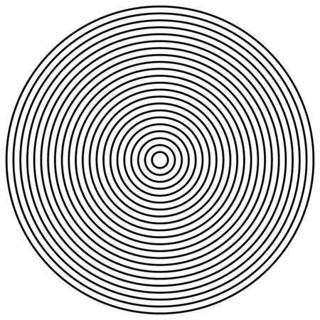 Radial circles design element. Converge circle lines. Repeating, expand circles from center, epicenter. Emission, circulate, loop concepts design element. Inward, converging, merge circles. Simple geometric circular, radiating lines element. Helix, shockwave lines. Loop, cycle of circle outlines Illustration