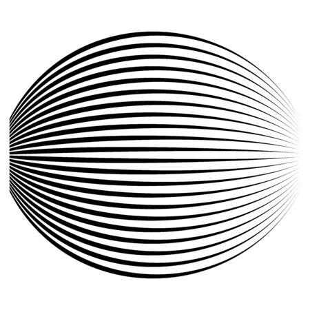 Spherical, globe circular distort effect pattern. Curved bulge, protrude warp effect. Convex globular, extrusion, bump deformation Illustration