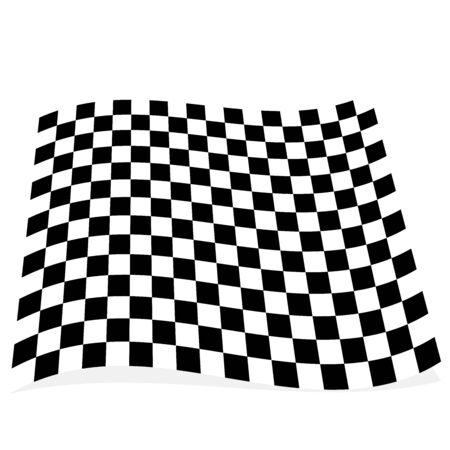 Racing, race flag element isolated on white with shadow Illustration