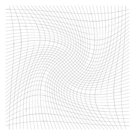 Grid, mesh of lines with circular spiral, twist, roll effect. Whorl, whirl, whirlpool pattern of perpendicular lines. Checkered pattern with rotation distortion, rotation deformation Illustration