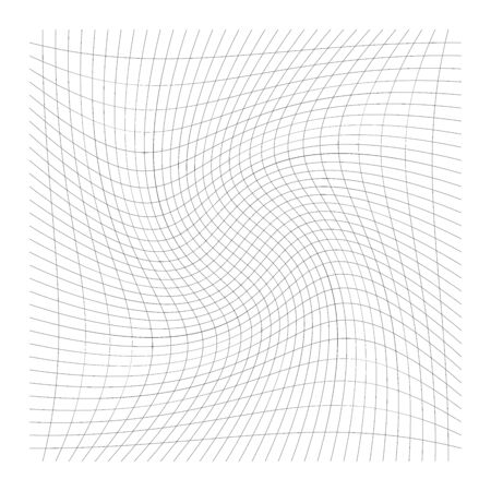 Grid, mesh of lines with circular spiral, twist, roll effect. Whorl, whirl, whirlpool pattern of perpendicular lines. Checkered pattern with rotation distortion, rotation deformation Ilustração