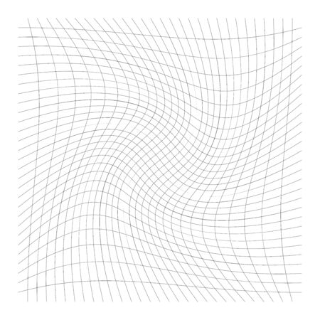 Pattern with rotation, spiral, swirl, twirl effect of perpendicular lines. Twisted lines. Tangled pattern, texture with camber, sweep distortion, deformation