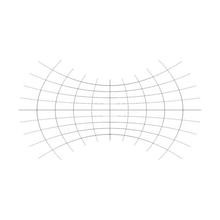 Geometric shape with oblate, squeeze, flattened effect. distorted, condensed grid, mesh. pressure, clench deform effect applied to array of intersecting lines. abstract squished, hollow, flexed horizontal, wide graphical element