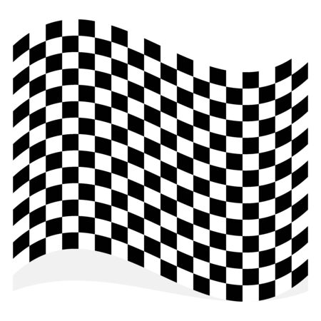 Racing, race flag element isolated on white with shadow Çizim
