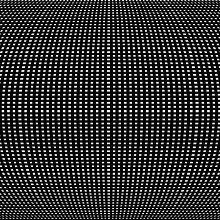 Spherical, globe circular distort effect pattern. Curved bulge, protrude warp effect. Convex globular, extrusion, bump deformation  Иллюстрация