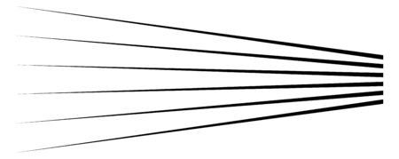 Lines, stripes in perspective. 3d strips vanishing, diminishing to horizon. Angle burst radial lines. Straight, parallel, horizontal streaks 向量圖像