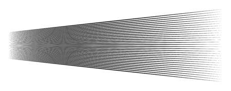 Lines, stripes in perspective. 3d strips vanishing, diminishing to horizon. Angle burst radial lines. Straight, parallel, horizontal streaks Ilustração