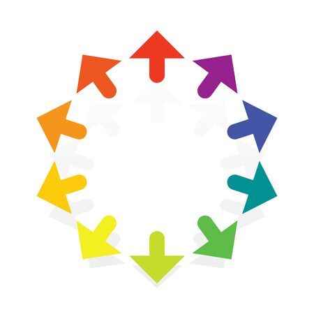 Radial, circular arrows for enlarge, expand themes. Alignment, align, maximize concepts pointers illustration. Outward cursor design for stretch, magnify, scale, resize themes