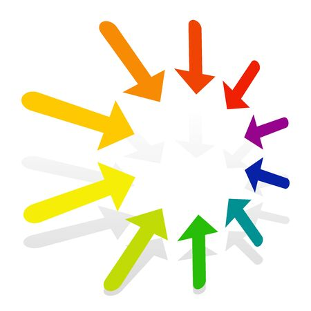 Radial, concentric arrows pointing to center, inside. Merge, resize, supress concepts pointer illustration. Diminish, confluence cursor design