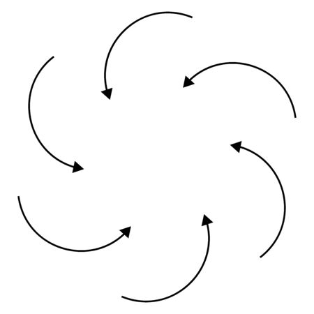 Radial, circular arrows for swirl, twirl, turn concepts. Concentric pointer illustration for revolve, recycle themes. Circulation, tweak cursor design Ilustrace